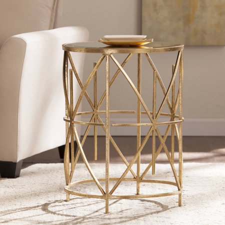 Southern Enterprises Stargold Round End Table, Antique Gold ()