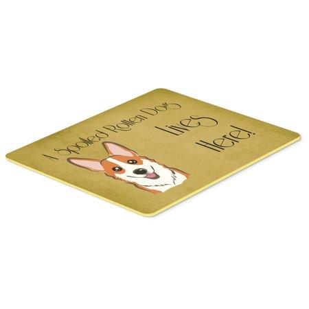 Red Corgi Spoiled Dog Lives Here Kitchen or Bath Mat 24x36 BB1502JCMT