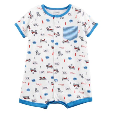 Carters Infant Boys White Superhero Dog Romper Bodysuit Kapow Baby Outfit - Superhero Outfits For Dogs