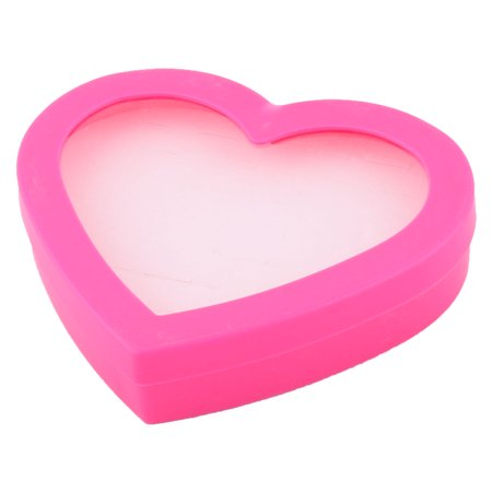 Plastic Heart Shape Jewelry Necklace Ring Storage Display Case Box Fuchsia
