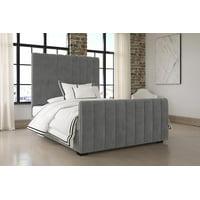 DHP Dante Upholstered Platform Bed, Grey Velvet, Queen