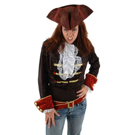 Scallywag Pirate Hat - Scallywag Caribbean Pirate Blood Red Tricorn Adult Costume Hat One Size