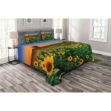 Sunflower Bedspread Set, Farmland Theme Summer Season Harvest Pattern Sunset Scenery Pastoral Photography, Decorative Quilted Coverlet Set with Pillow Shams Included, Multicolor, by Ambesonne ()