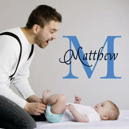 Personalized Name Vinyl Decal Sticker Custom Initial Wall Art Personalization Decor Sticker Baby Boy Nursery Room Children Bedroom 10 Inches X 10 Inches Ceiling Wall Baby Nursery Room