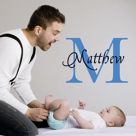 Personalized Name Vinyl Decal Sticker Custom Initial Wall Art Personalization Decor Sticker Baby Boy Nursery Room Children Bedroom 10 Inches X 10 - Boy Baby Room Ideas