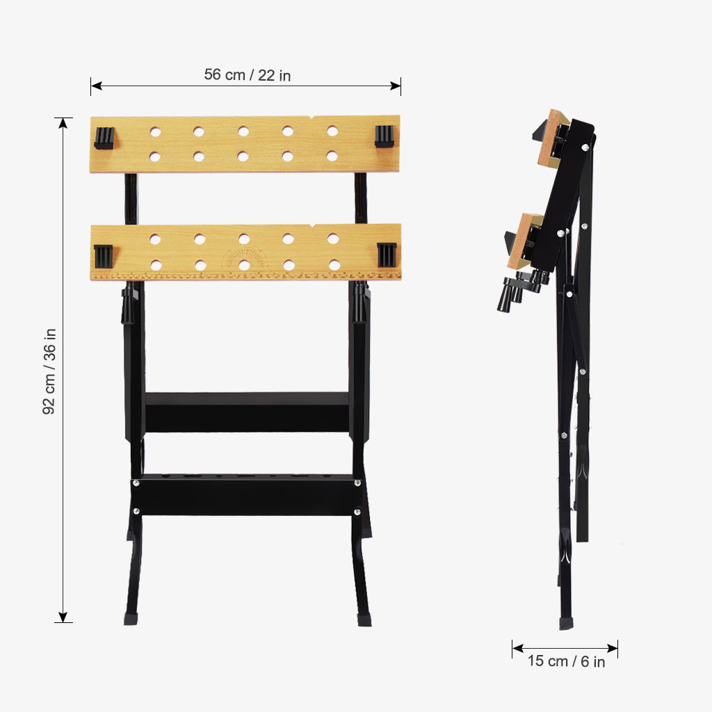 Finether Folding Work Bench with Vice Multipurpose Sawhorse Heavy Duty legs Portable Work Table with Clamp,Pegs and Tool Holders 330lbs/150kg Capacity