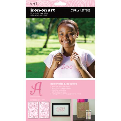 """Letter Transfers 1.5""""-Pink Curly"""