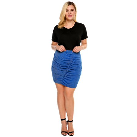 Women High Waist Shimmer Stretch Ruched Mini Pencil Skirt Plus Size RllYE ()