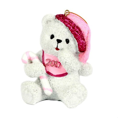 Holiday Time 3.5 Inch Christmas Baby First Ornaments â Baby Girl Teddy