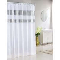Product Image Bathroom And More Collection Extra Long Pure White Fabric Shower Curtain With Silver Metallic Accent Stripes