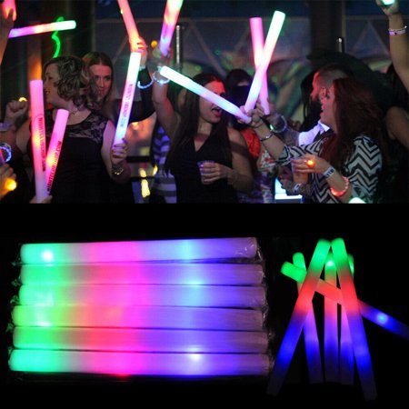 100 PCS Light Up Foam Sticks LED Wands Rally Rave Batons DJ Flashing Glow Stick](Glow Stick Wands)