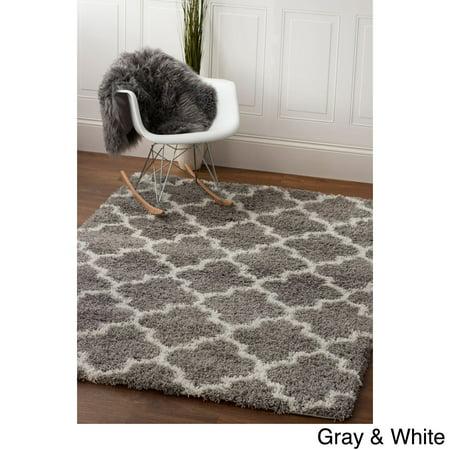 Super Area Rugs Cozy Plush Gray Amp White Trellis Shag Rug
