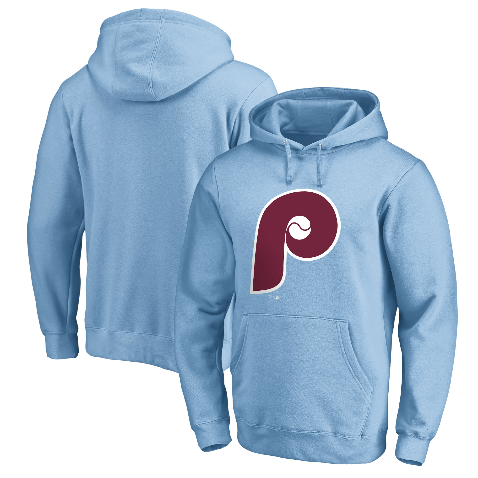 Philadelphia Phillies Fanatics Branded Cooperstown Collection Huntington Pullover Hoodie - Light Blue