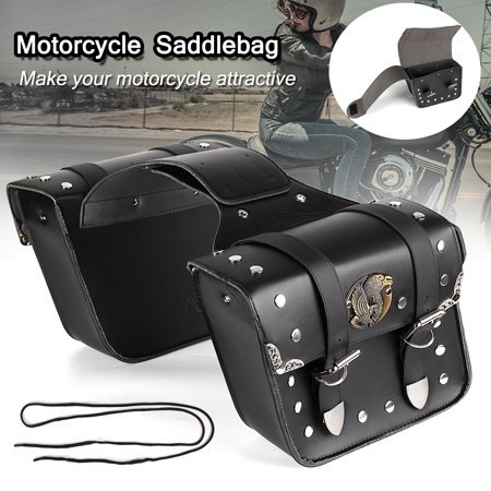 2x PU Leather Motorcycle Saddle Bags Pouch Luggage For Harley Sportster XL 883 1200