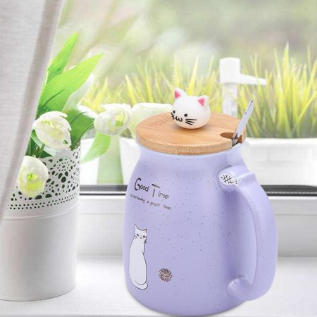 Ejoyous 1Pc Lovely Cat Ceramic Cup with Spoon and Lid  Coffee Water Milk Mug for Drinkware Gift,Cup, Milk Mug - image 8 of 8