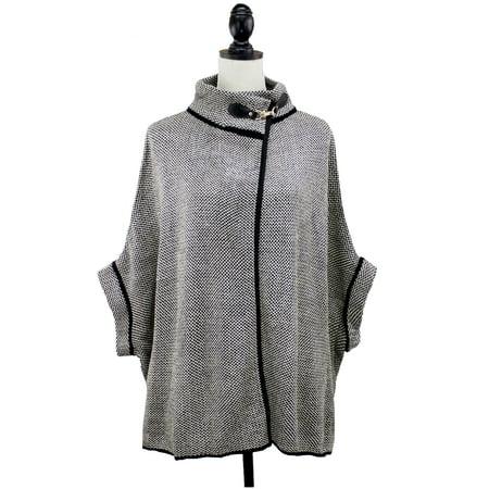 Women Sweater Knit Cape with Buckle Fashion Jacket Shawl Poncho (Black+White)