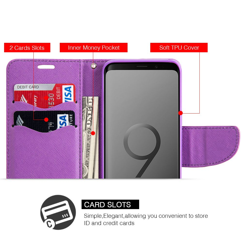 Samsung Galaxy S9 Case, by Insten BE-YOU-TIFUL Stand Book-Style Leather [Card Holder Slot] Wallet Pouch Case Cover For Samsung Galaxy S9, Multi-Color