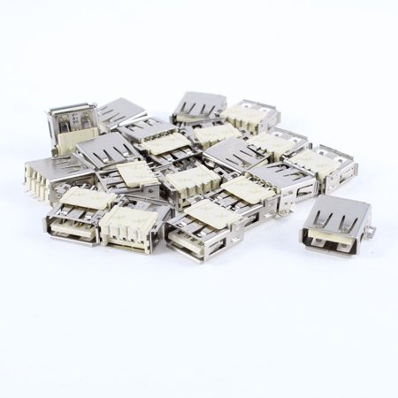 Unique Bargains 20pcs USB Type A Female Port 180 Degree 4-Pin SMD SMT Jack Socket (10 Pin Mini Usb Female Socket Connector)