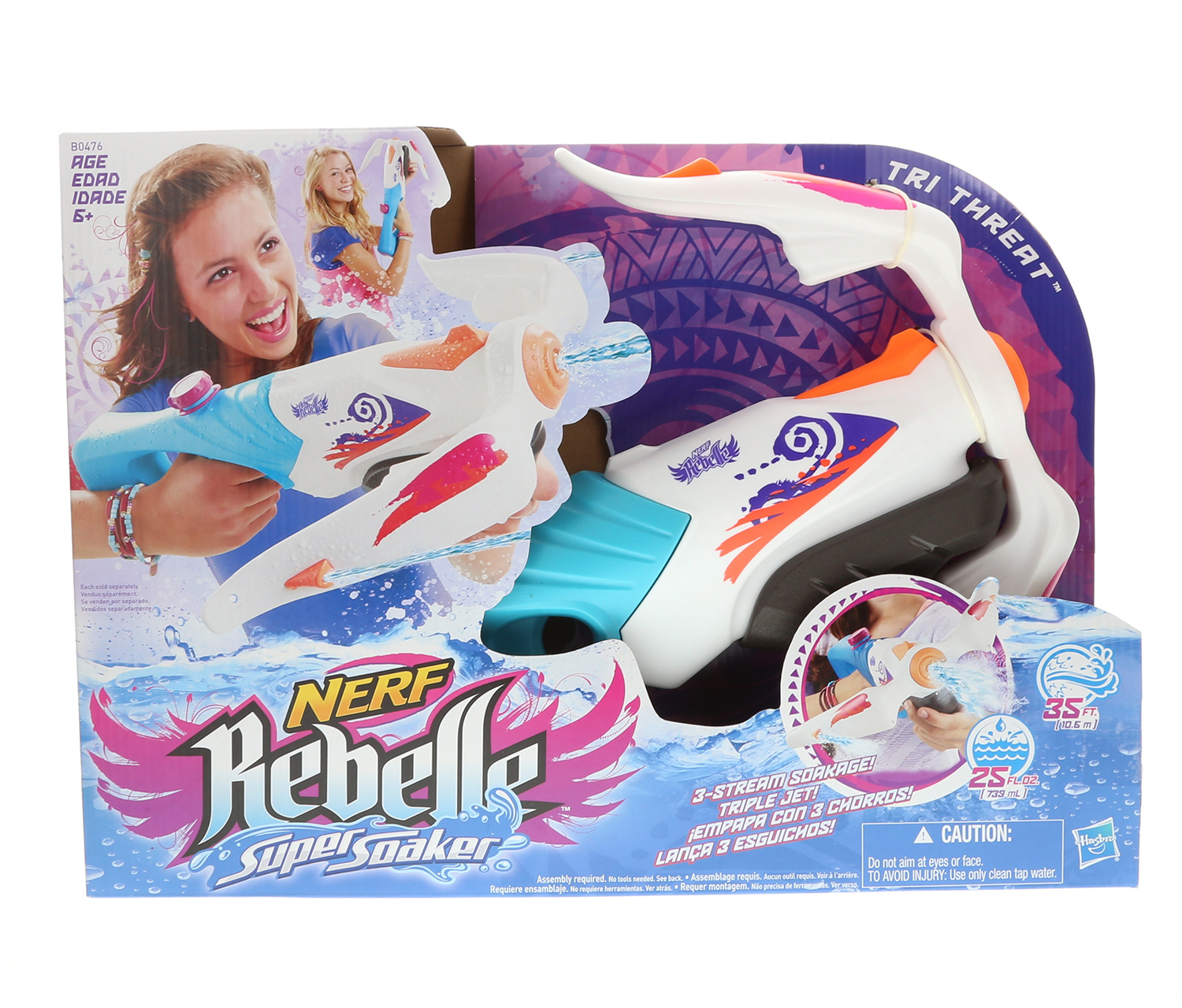Water Toys Nerf Rebelle Super Soaker Tri Threat Blaster (Multipack of 3) by Mozlly