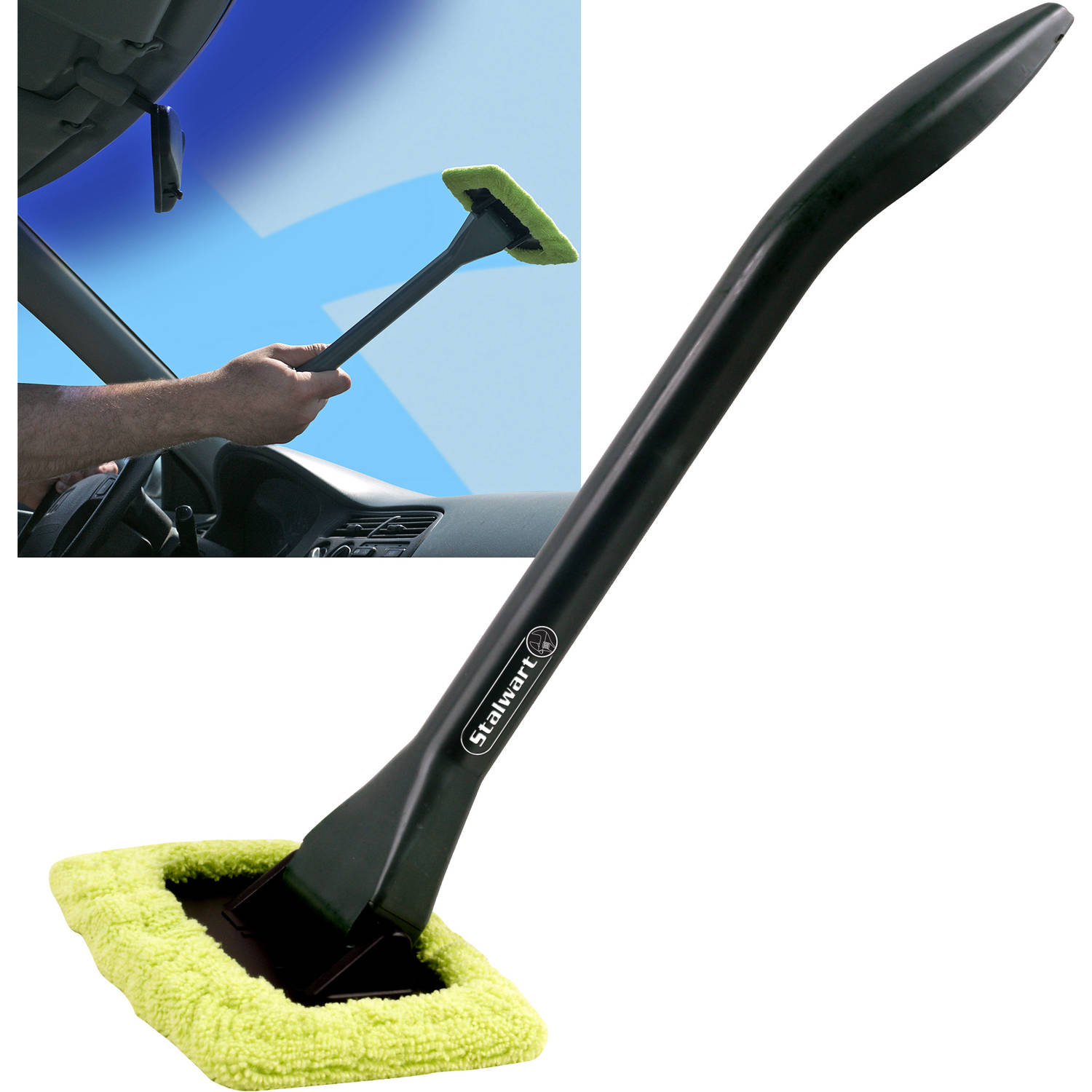 Windshield Cleaner with Microfiber Cloth, Handle and Pivoting Head- Glass Washer Cleaning Tool for Windows By Stalwart (Green)