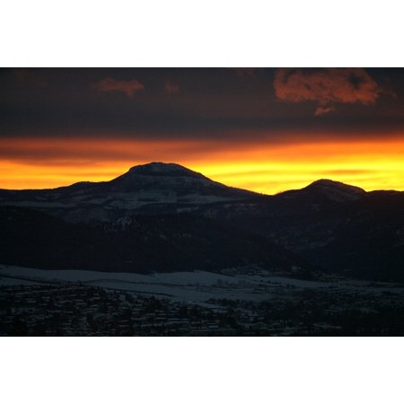 Peel-n-Stick Poster of Mountains Landscape Outdoors Silhouette Sunset Poster 24x16 Adhesive Sticker Poster Print