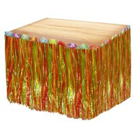 """Multi Colored Luau Grass Table Skirt With Hibiscus Flowers - 9' x 29"""". Hawaiian Tropical Party Table Skirt Decorations."""