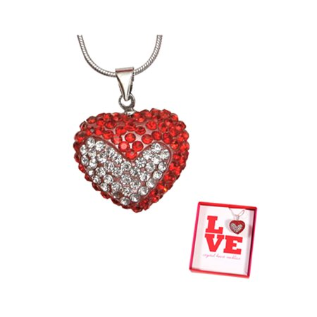 Red & White Crystal Heart  Valentines Love Heart Charm -