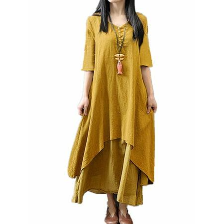 Women's Vintage V-Neck Half Sleeve Irregular Hem Cotton Linen Long (Balloon Hem Dress)