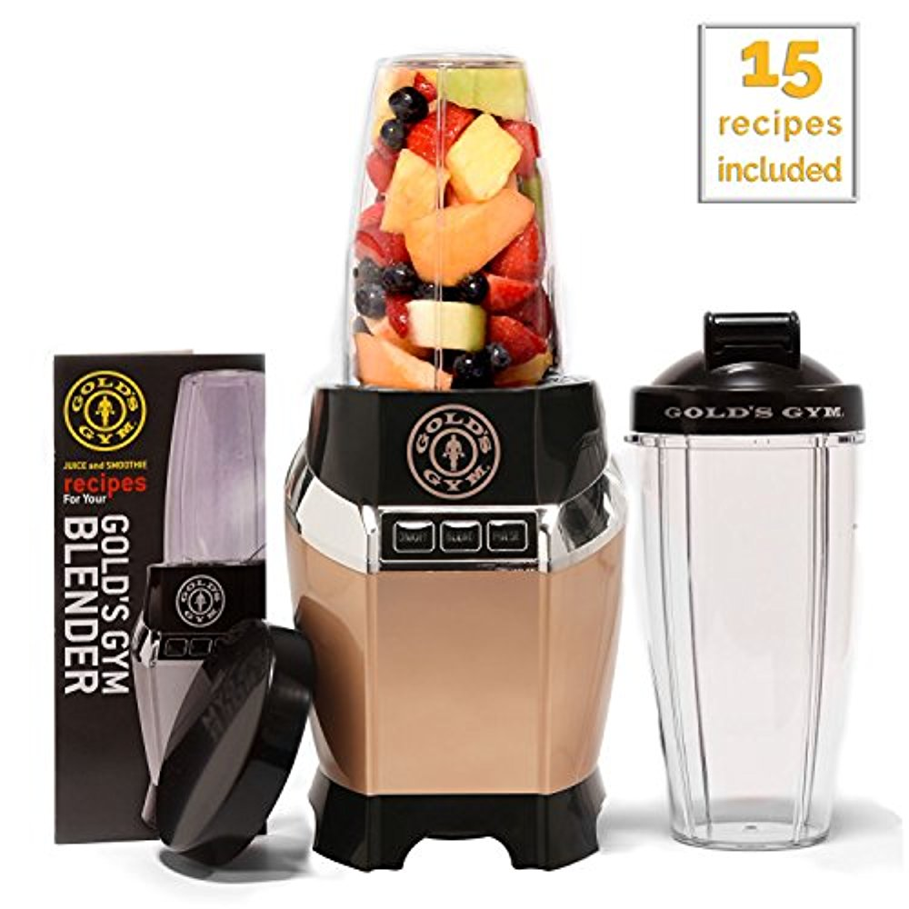Golds Gym 1000 Watt Personal Power Blender for Shakes and Smoothies - Healthy with 2 Portable Dishwasher Safe Travel Sports Bottles/Cups, Supreme Strength - Silver