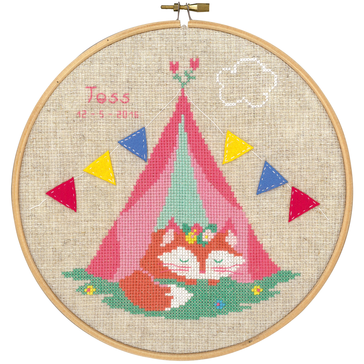 "Small Fox In Tent Birth Record On Aida Counted Cross Stitch -8"" Round 14 Count"