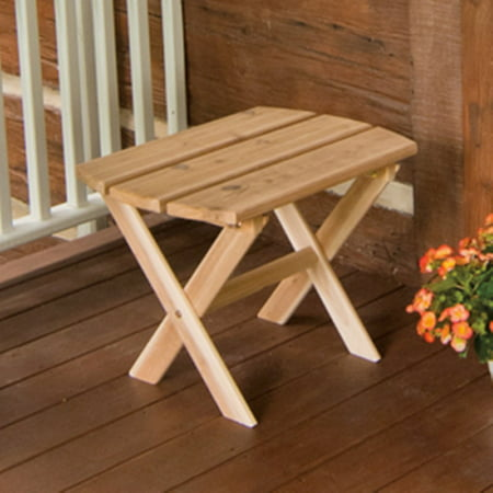 A & L Furniture Western Red Cedar Folding Oval End Table (Western Rustic Furniture)