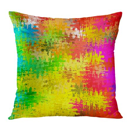 Spatter Brush - ECCOT Digital Painting Beautiful Multi Color Abstract Water Spatter Brush Paint in Different Shades of Colorful Pillowcase Pillow Cover Cushion Case 16x16 inch