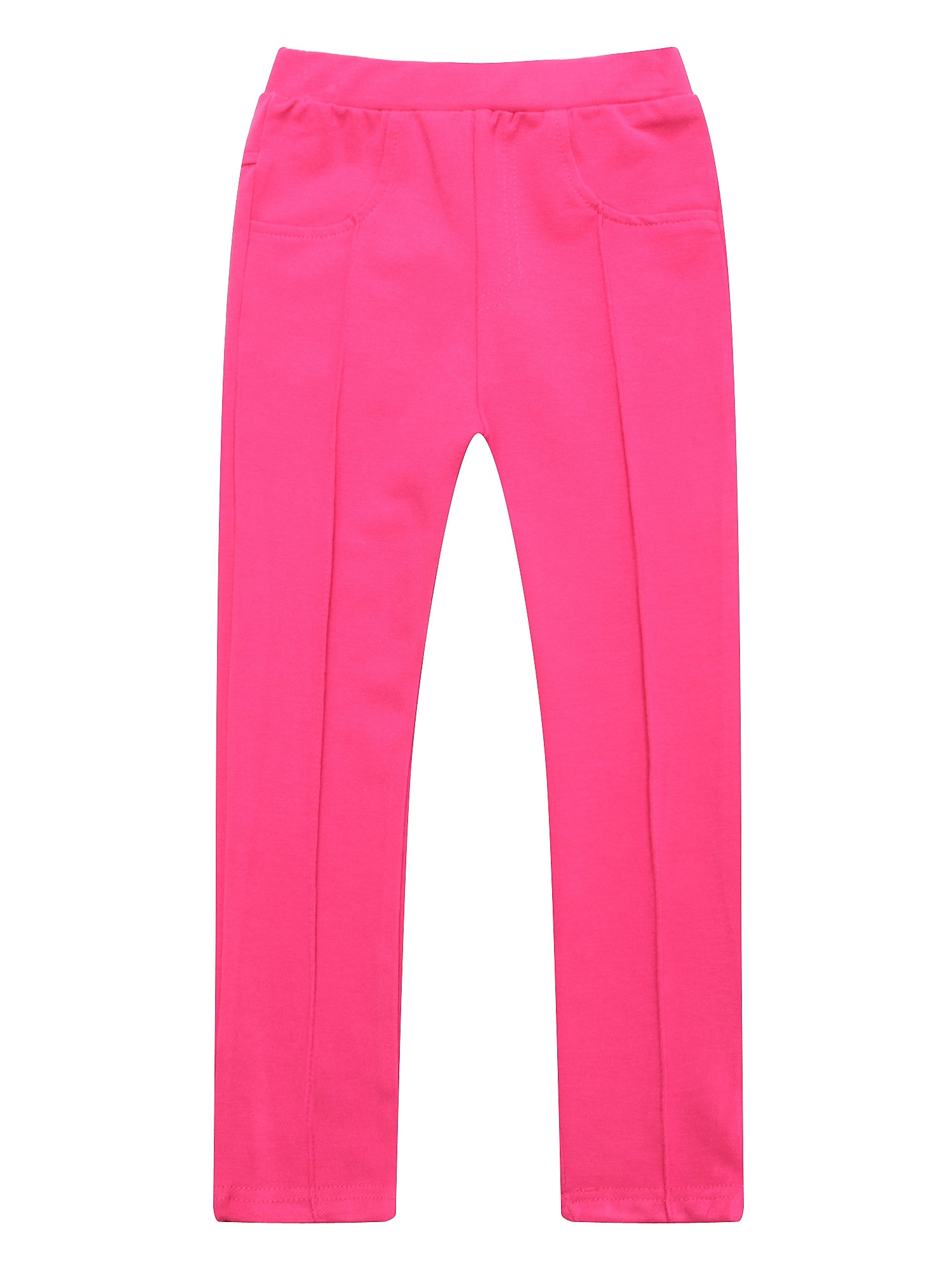 Richie House Girls' Solid Colored Pants with Elastic Waistband RH1562