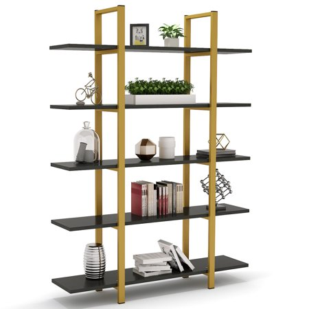 Tribesigns 5-Tier Bookshelf, Vintage Industrial Style Bookcase 72 H x 12 W x 47L Inches ()