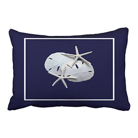 WinHome Rectangl Throw Pillow Covers Nautical Blue Starfish Sand Dollar Pillowcases Polyester 20 x 30 Inch With Hidden Zipper Home Sofa Cushion Decorative Pillowcase