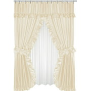 Royal Bath Lauren Double Swag Dobby Fabric Shower Curtain, 100% Polyester, Size 70X72, Color Ivory