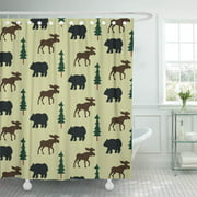 ATABIE Kids Moose and Bear Rustic Green Cute Babies Wildlife Shower Curtain 60x72 inch