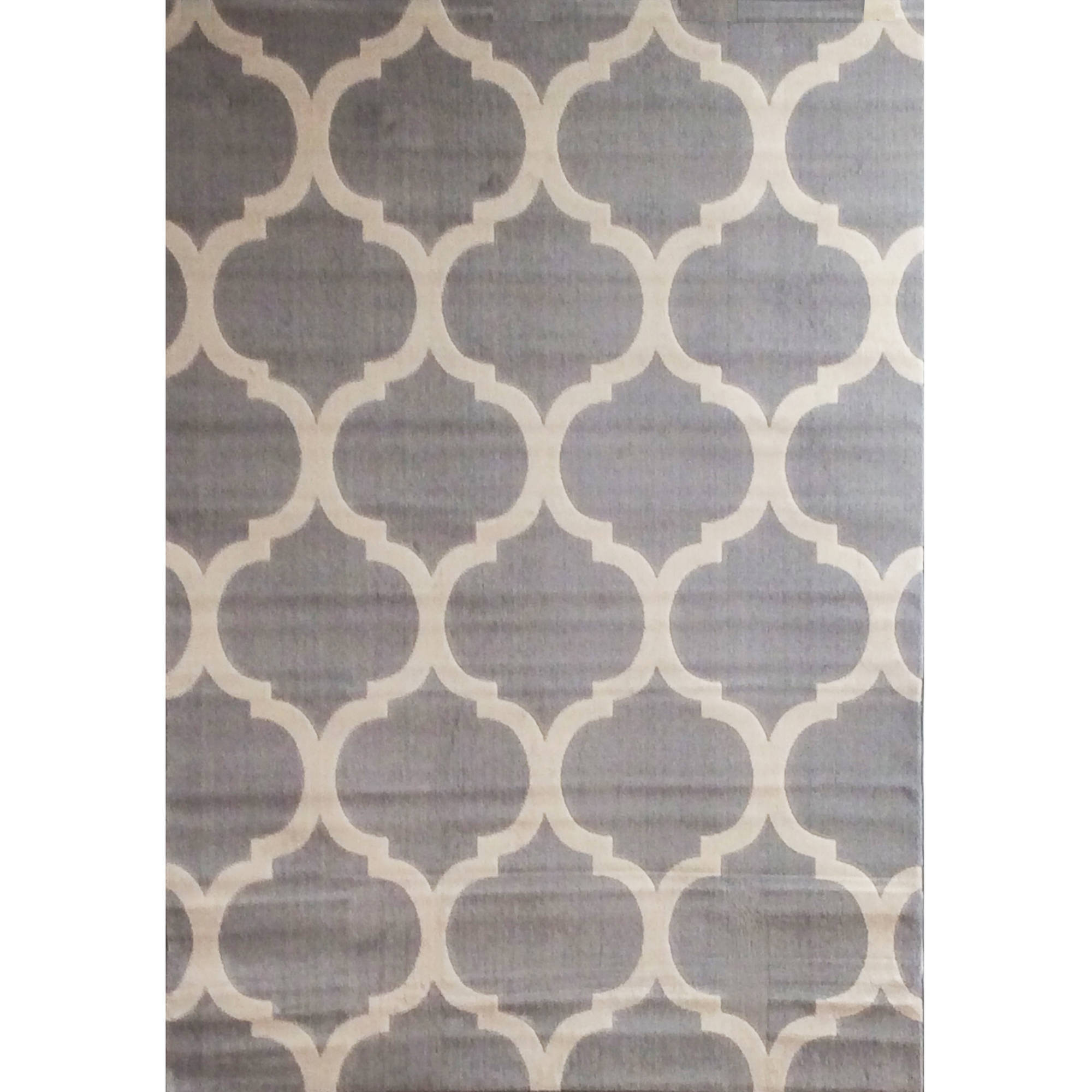 Broadway Trellis Power Loomed Area Rug, Light Grey/Ivory