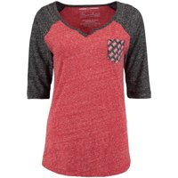 Nebraska Cornhuskers Pressbox Women's Baja Pocket Three-Quarter Raglan Sleeve T-Shirt - Scarlet/Black