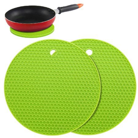 2pcs Pot Holders Multipurpose Round Pot Holders Trivets Jar Openers & Spoon Rests