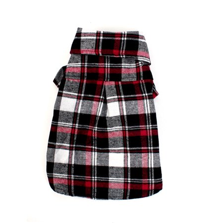 Stylish Casual Single Breasted Plaid Printed Pet Puppy Dog Clothes Dog Apparel Tee Size S Red Black White