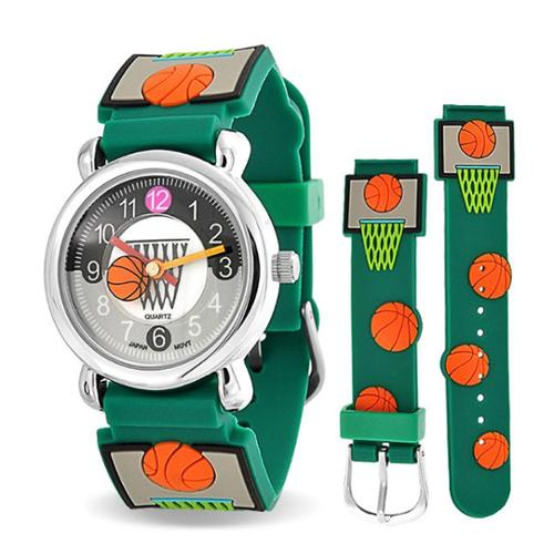 Bling Jewelry Green Basketball Hoop Sports Kids Watch Stainless Steel Back