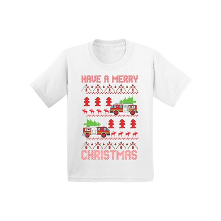 Firefighter Christmas Shirt.Awkward Styles Fire Truck Christmas Shirt For Kids Ugly Christmas T Shirt Firefighter Youth Shirt For Xmas Funny Christmas Gifts For Kids Holiday