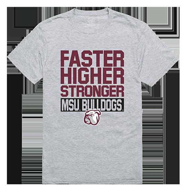 W Republic Apparel 530-133-HGY-02 Mississippi State University Workout Tee Shirt - Heather Gray, Medium