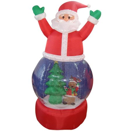 The Holiday Aisle Santa Claus Snow Globe Lighted Christmas Inflatable - Halloween Snow Globe Song