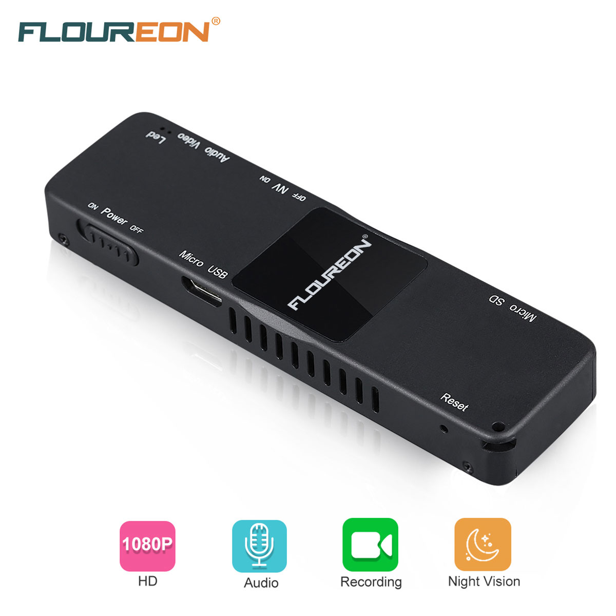 FLOUREON Mini Camera 2.0 Mega Pixels Portable 1080P DV Recorder With Night Vision Video Audio Recording Motion Detection Recorder PC Web Camera,Black
