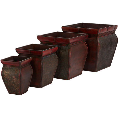 Square Planters with Rim, Set of 4