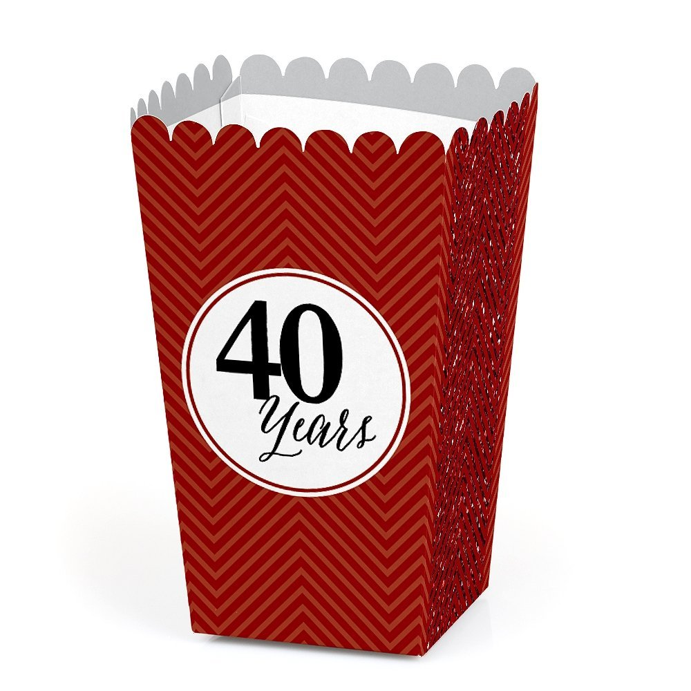 We Still Do - Ruby - 40th Wedding Anniversary Party Favors Popcorn Treat Boxes - Set of 12