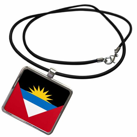 3dRose Flag of Antigua and Barbuda twin islands - red white blue black with rising yellow sun - patriotic - Necklace with Pendant (ncl_157819_1)