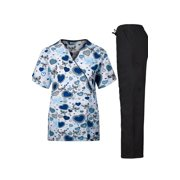 Medical Scrub Set With Printed Top and Cargo Pants